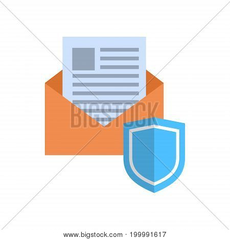 Envelope With Shield Icon Mail Data Protection Concept Vector Illustration