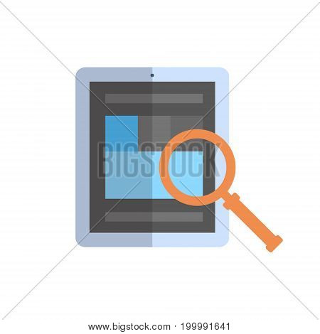 Tablet Computer With Magnifying Glass Icon Data Search Concept Vector Illustration