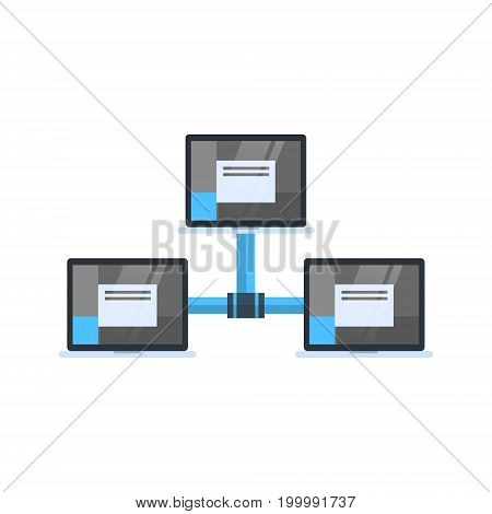 Data Center Access Icon Cloud Computer Connection Hosting Server Database Synchronize Technology Vector Illustration