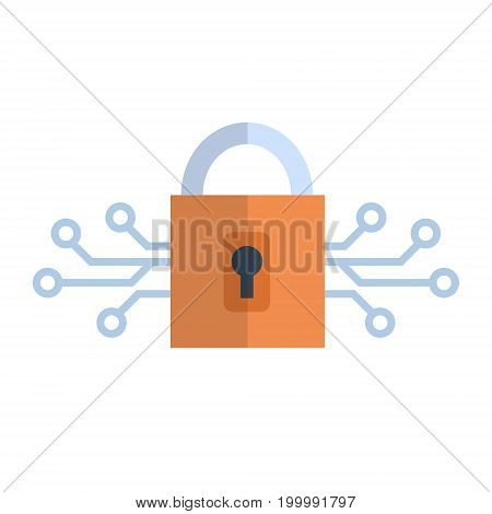 Lock Icon Media Network Data Protection Concept Vector Illustration