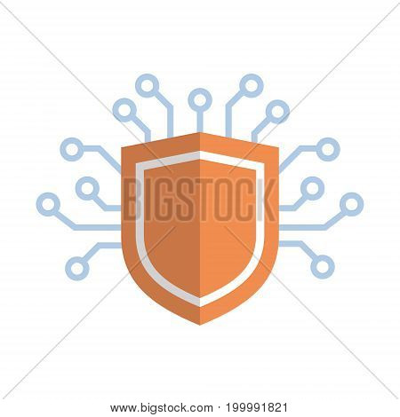 Shield Icon Media Network Data Protection Concept Vector Illustration