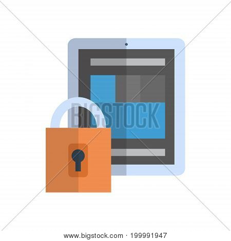Tablet With Lock Icon Media Network Data Protection Concept Vector Illustration