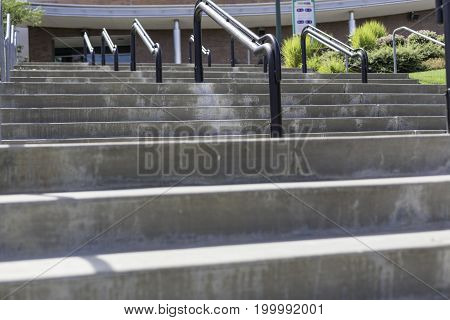 A view of multiple flights of concrete stairs