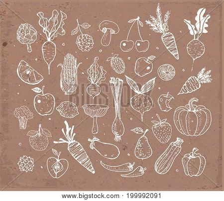 Doodle fruits and vegetables on brown parcel paper. Vector sketch illustration of healthy food