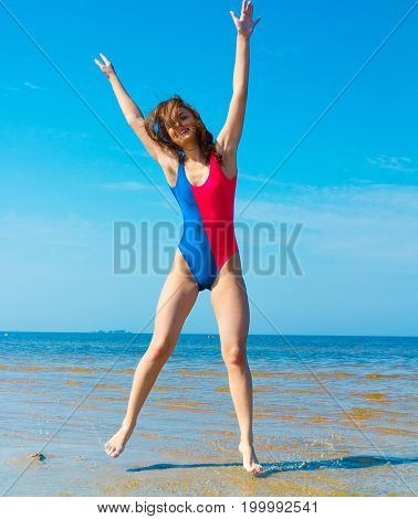 Funny Girl Jumping Happy