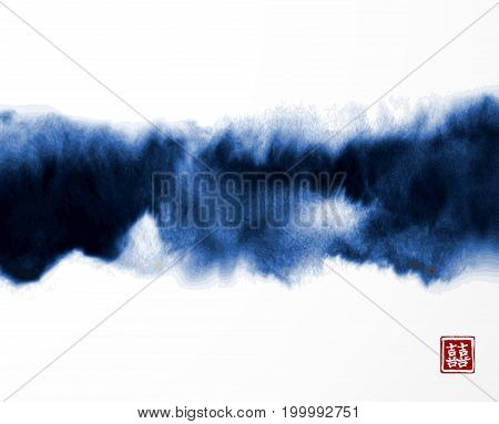 Abstract blue ink wash painting in East Asian style on white background. Grunge texture