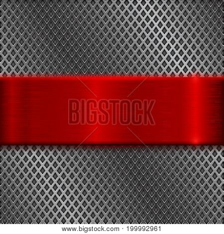 Metal perforated background with red brushed plate. Vector 3d illustration