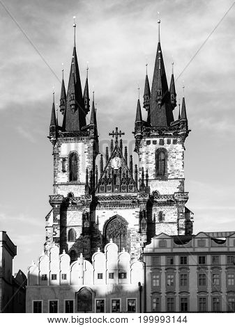 Church of Our Lady before Tyn. View from Old Town Square, Prague, Czech Republic. Black and white image.