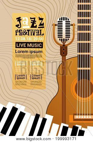 Jazz Festival Live Music Concert Poster Advertisement Retro Banner Vector Illustration