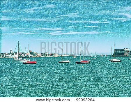 Digital painting of sailing boats at anchor with a beautiful blue sky and aqua sea and space for text.