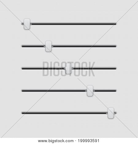 Media slider bar. Gray user interface element. Vector 3d illustration