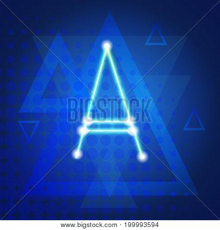 Neon Letter Capital Alphabet Text Lettering Vector Illustration