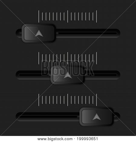 Media slider. Black user interface element. Vector 3d illustration