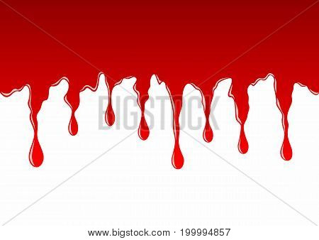 Flowing drops of red blood or dye in vector isolated on white