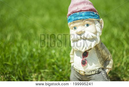 Garden gnome posing with a grass background