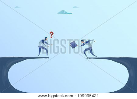 Two Businessmen Giving Documents Over Cliff Gap Mountain Business People Cooperation Help Teamwork Concept Flat Vector Illustration