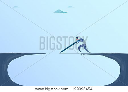 Businessman Drawing Bridge Walking Over Cliff Gap Mountain Business Man Risk Concept Flat Vector Illustration