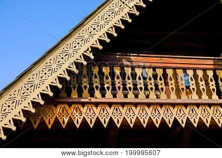 POTSDAM GERMANY - AUGUST 15; 2017: Detail of a traditional Russian wooden house decoration in the Russian colony Alexandrowka in Potsdam Germany.