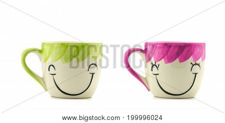 Two Cups Of Coffee And Stand Together Be Man And Girl Shape On White Background With Smile Face On C
