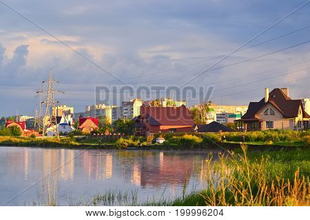 City skyline at dawn view from the river, Dimitrovgrad, Russia, Ulyanovsk region.
