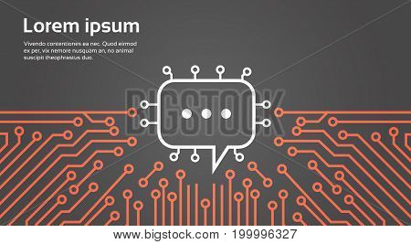 Chat Bubble Over Computer Chip Moterboard Background Social Media Network Data System Concept Banner Vector Illustration