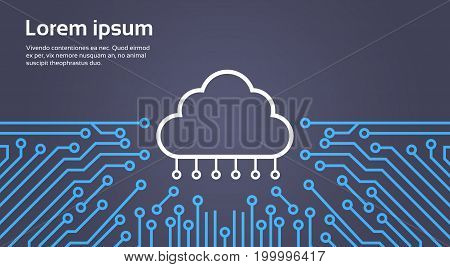 Cloud Database Over Computer Chip Moterboard Background Data Center System Concept Banner Vector Illustration