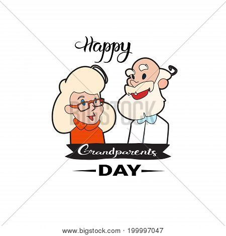 Happy Grandparents Day Greeting Card Banner With Grandfather And Grandmother Vector Illustration