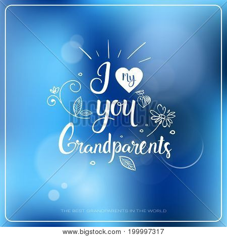 Happy Grandparents Day Greeting Card Colorful Banner With Text Vector Illustration