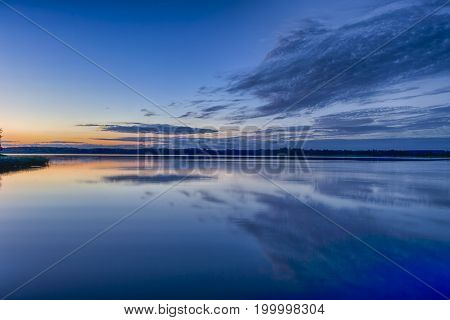 Travel Concepts and Ideas. Belarussian National Park Braslav Lakes at Sunset during Summertime.Horizontal Image