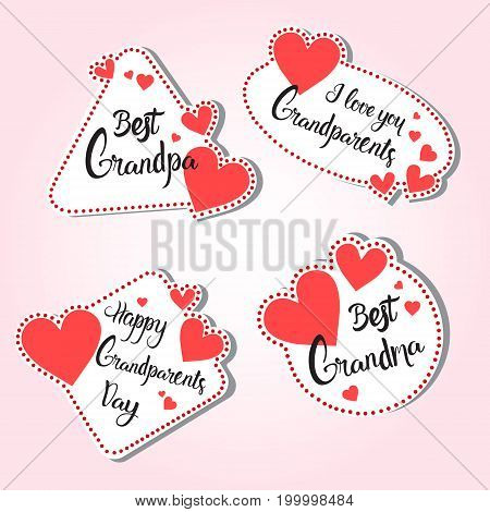 Happy Grandparents Day Greeting Card Set Of Stickers Colorful Over Pink Background Vector Illustration