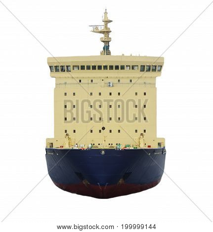 icebreaker ship stands isolated on white background