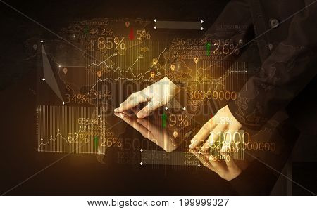 Hands navigate on high tech smart table with business icons and symbols