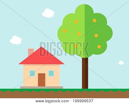 House and orange tree in gaming style vector illustration.Country home with tree and sky background.Flat home vector