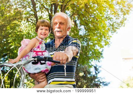 Grandpa Riding Bicycle With Granddaughter In Hands