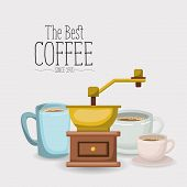 white poster with set porcelain cups with coffee grinding with crank of the best coffee since 1970 vector illustration poster