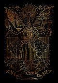 Mystic illustration of spiritual symbols, goddess of wisdom on black background. Occult and esoteric drawing, gothic and wicca concept. Latin text Momento Mori means Remember that you have to die poster