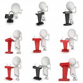 3d Speaker Podium and small man set. Tribune Rostrum Stand with Microphones. 3d render isolated on white background. Debate, press conference concept poster