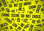 Crime scene do not cross with superposition of yellow tapes poster