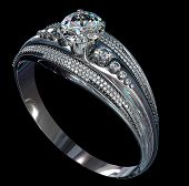 Silver band for engagement with gem. Top view of diamond facetes luxury jewellery bijouterie ring from white gold or platinum with gemstone. 3D rendering on black background. Family values object. poster