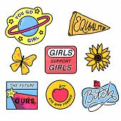90s patches with feminism slogans. You go girl. The future is ours. Girls support girls. Eve was framed. Bitch sign with rose. 80s style pin design. poster