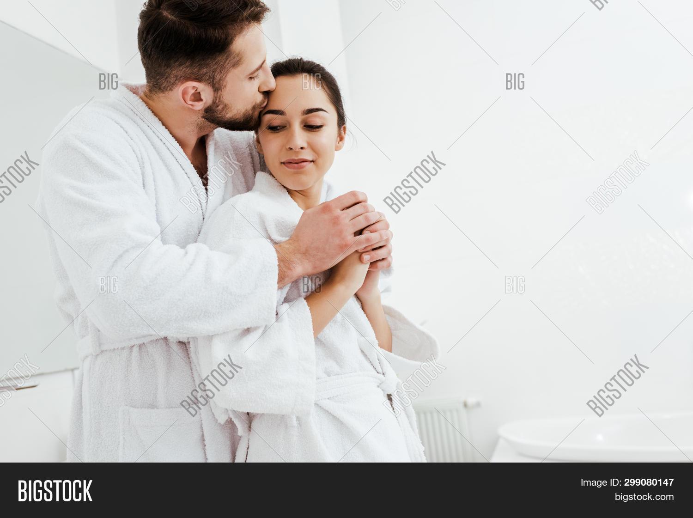 Cheerful Man Kissing Image Photo