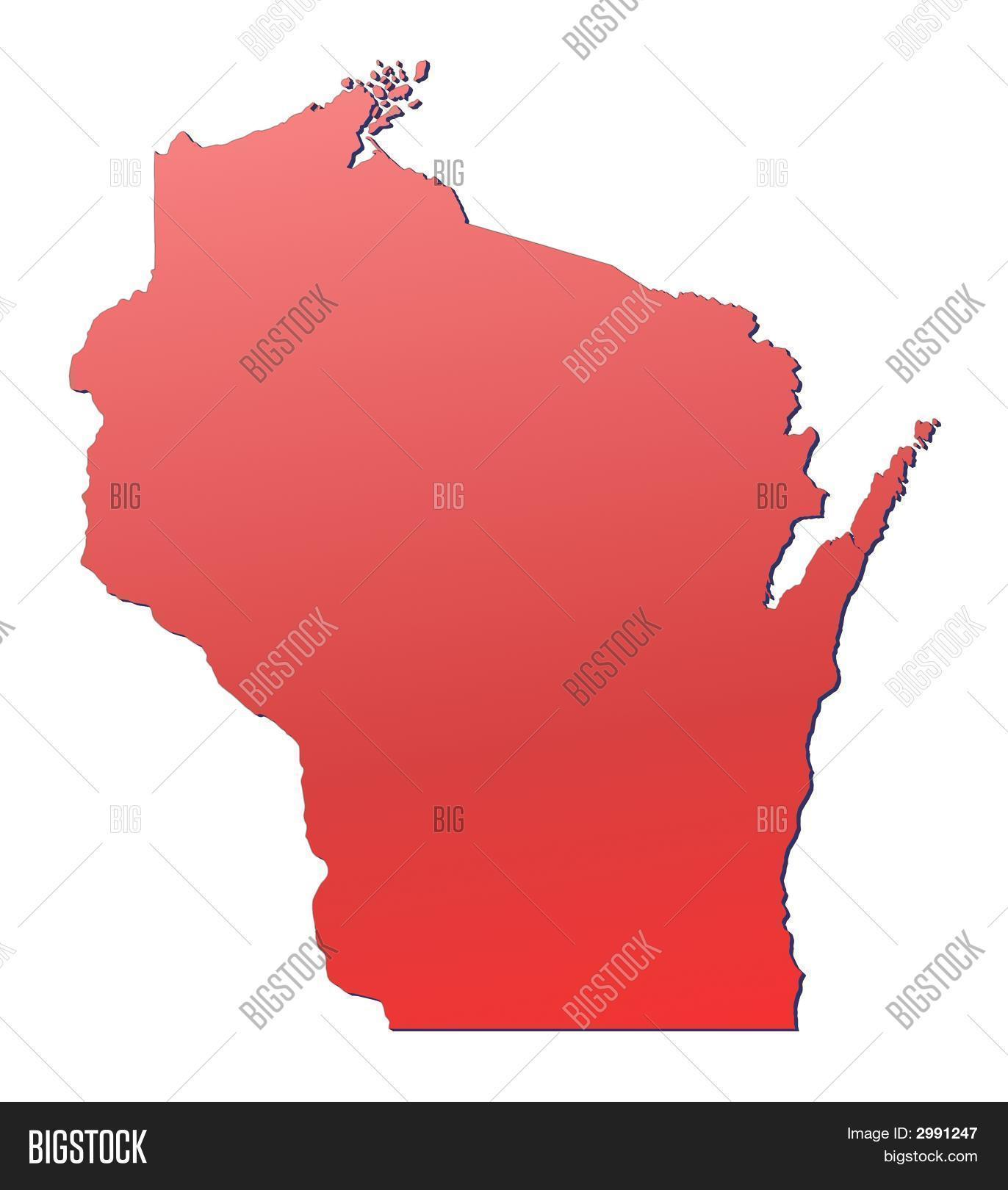 Wisconsin (Usa) Map Image & Photo (Free Trial) | Bigstock
