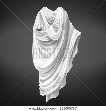 Roman Toga Isolated On Black Background. Ancient Rome Male Citizens Outerwear Made Of White Piece Of