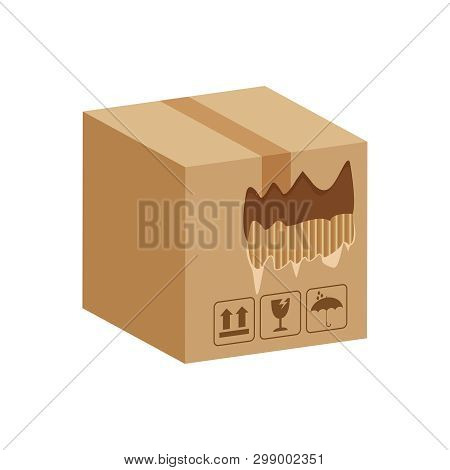 Crate Boxes Torn Hole Damaged, Ripped Broken Cardboard Box Brown, Damaged Torn Cardboard Parcel Boxe