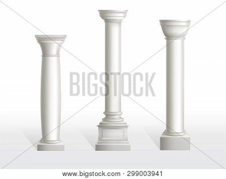 Ancient Columns Set Isolated On White Background. Antique Classic Stone Ornate Pillars Of Roman Or G