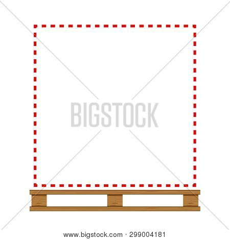 Empty Wooded Pallet And Red Line Frame In Temporarily Out Of Stock Concept, Blank Wooded Pallet For