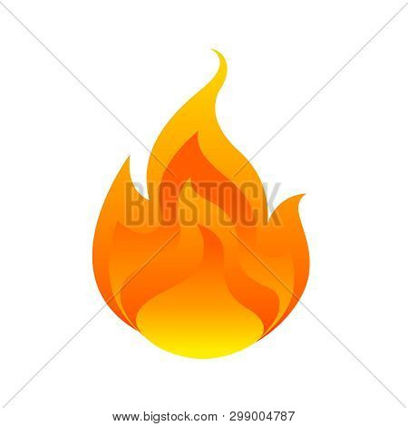 Flame, Fireball Isolated On White Background, Fire Burn Symbol, Flames Icon, Flaming Logo, Bonfire B