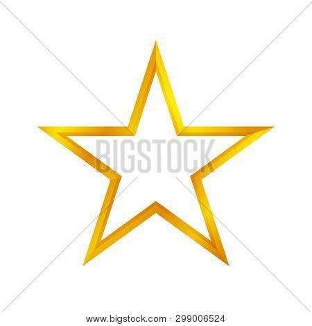 Gold Star Shape Isolated On White Background, Golden Star Icon, Gold Star Logo, Image Of Golden Star
