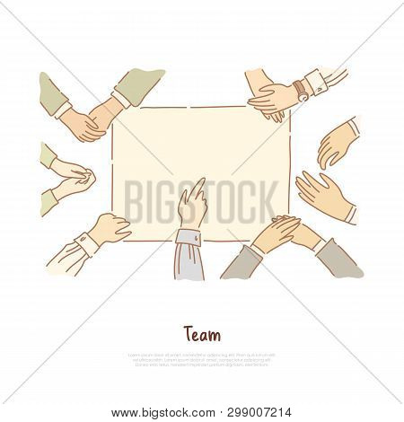 Deaf Mute People Communication, Hands Showing Gestures, Cooperation, Sign Language Education Banner.