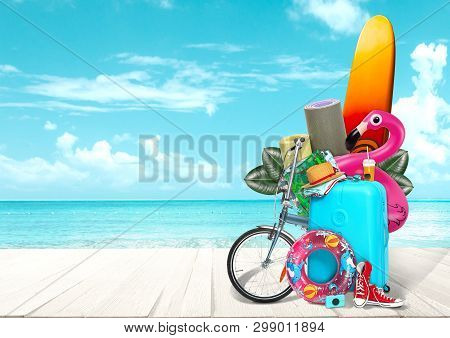 Collage Of Luggage For Travel In Front Of Ocean View. Concept Of Summertime, Resort, Journey, Trip,